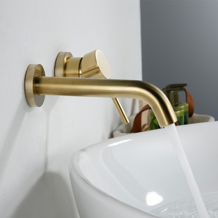 入墙式面盆复古水龙头全铜冷热水墙出水拉丝金色龙头泡泡卫浴 暗装