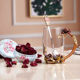 Los shihuashe rose tea goddess color water cup hot glass drink cup family set gift box