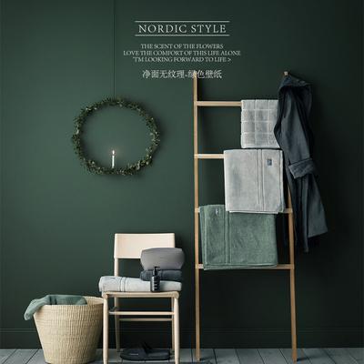 客厅卧室墙纸北欧ins纯色无纺布墨绿色壁纸 电视背景影视墙美式系