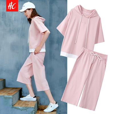 夏天2019新款女休闲运动套装衣服韩版时尚宽松阔腿裤两件套社会潮
