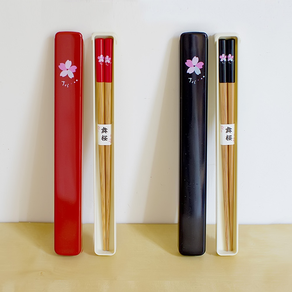 1 Pair of Portable Cherry Blossoms Pattern Bamboo Wood Chops