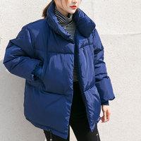 孜索2018冬季新款韩版棉外套纯色棉衣BF短款面包服宽松蓝色棉袄女