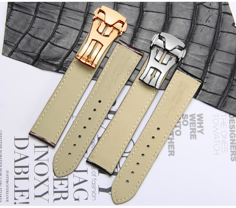 十瑞表带男适用于欧米茄表带真皮男蝶飞海马超霸鳄鱼皮手表带20mm