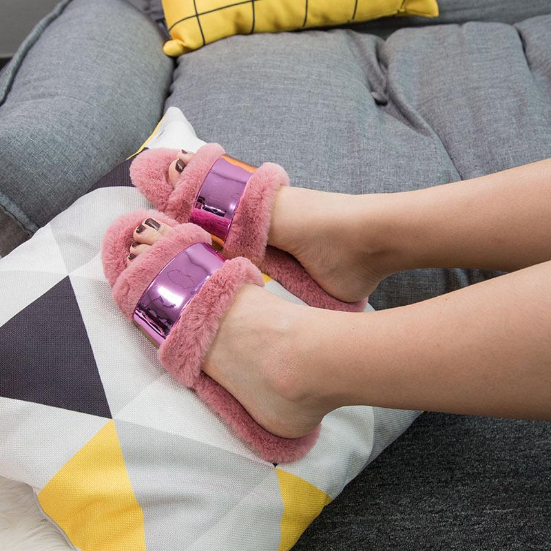 2018秋冬新款开口拖鞋 70208女士毛毛拖 欧美潮流出街棉拖