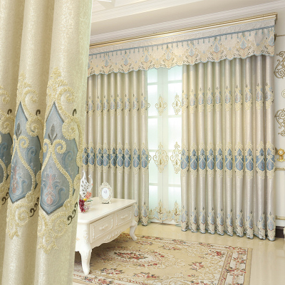 新款刺绣奢华大气欧式客厅窗帘成品简约现代遮光卧室落地窗帘纱帘