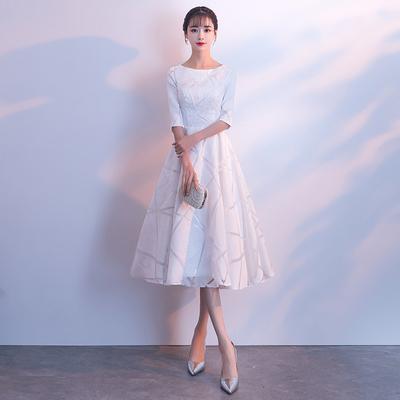 伴娘服白色2018秋冬季新款学生宴会中长款名媛年会晚礼服连衣裙女