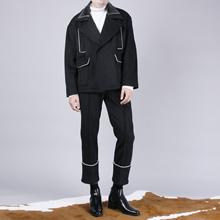 秋冬 RICCIWEE原创设计漆皮拼接白色镶边翻驳领短毛呢大衣外套男装图片