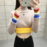 2018 new Korean version plus velvet sweater women's autumn and winter wear thick warm clothes loose half-high collar knit bottoming shirt