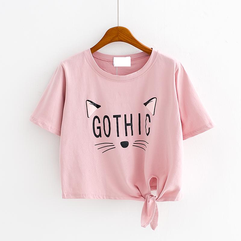 夏季韩版新款 印花字母仙人掌高腰短款绑带仙人掌短袖T恤女上衣潮