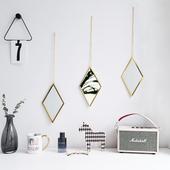 北欧简约金色多边形装饰化妆镜衣帽间墙面装饰镜浴室挂镜橱窗镜子