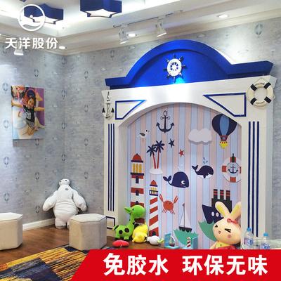 天洋免胶水热熔无缝墙布 儿童房卧室男女童地中海热汽球壁布F1012