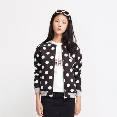 瑕疵女装秋冬款波点复合面料针织开衫女士软壳外套棒球服休闲夹克