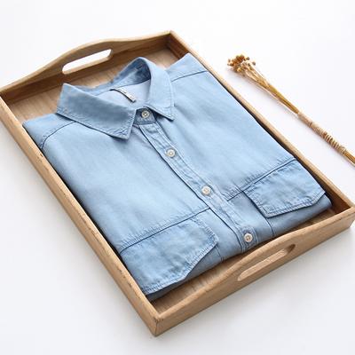 夏季新款天丝牛仔衬衫女宽松韩范挽袖双口袋百搭大码舒适柔软衬衣
