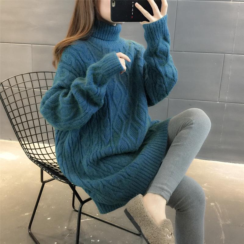 高领毛衣女中长款2019冬季新款韩版女装宽松外穿慵懒风加厚针织潮