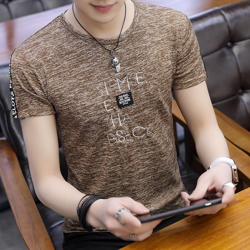 2019夏季新款男士短袖T恤男裝圓領冰絲半袖體恤青年韓版潮流上衣