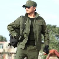 狼石长袖军绿工作服劳保服套装男纯棉汽修电焊耐磨工装制服保安服