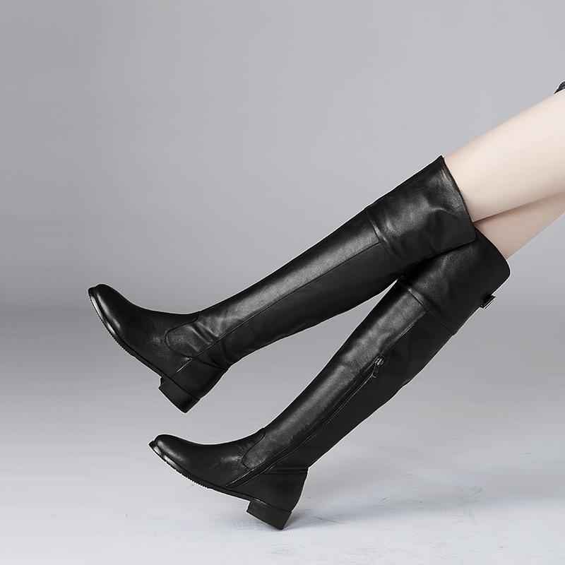 2017秋冬新款真皮长靴女骑士高筒靴平底靴平跟女靴过膝加绒女冬靴