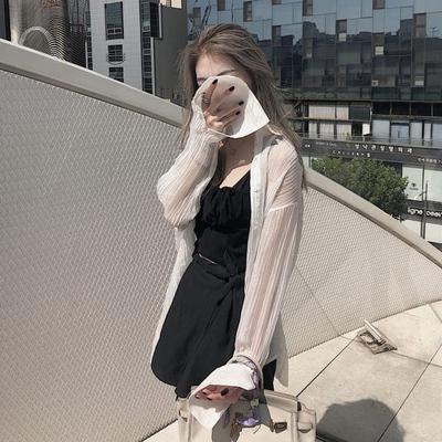 L李嘉慧同款2018夏季防晒衣中长款开衫白色薄外套女