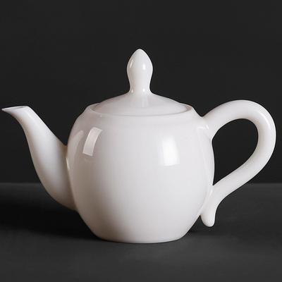 德化白瓷茶壶功夫茶具茶道喝茶家用泡茶陶瓷器美人肩长嘴茶壶