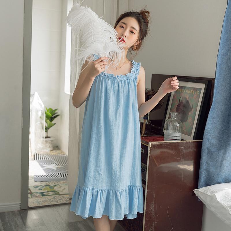 夏天公主风纯棉吊带睡裙女士夏季薄款仙女风无袖睡衣性感连衣裙子