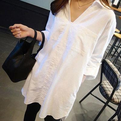 韩国2018秋装新款宽松大码夏季中长款衬衫女长袖V领白色套头衬衣