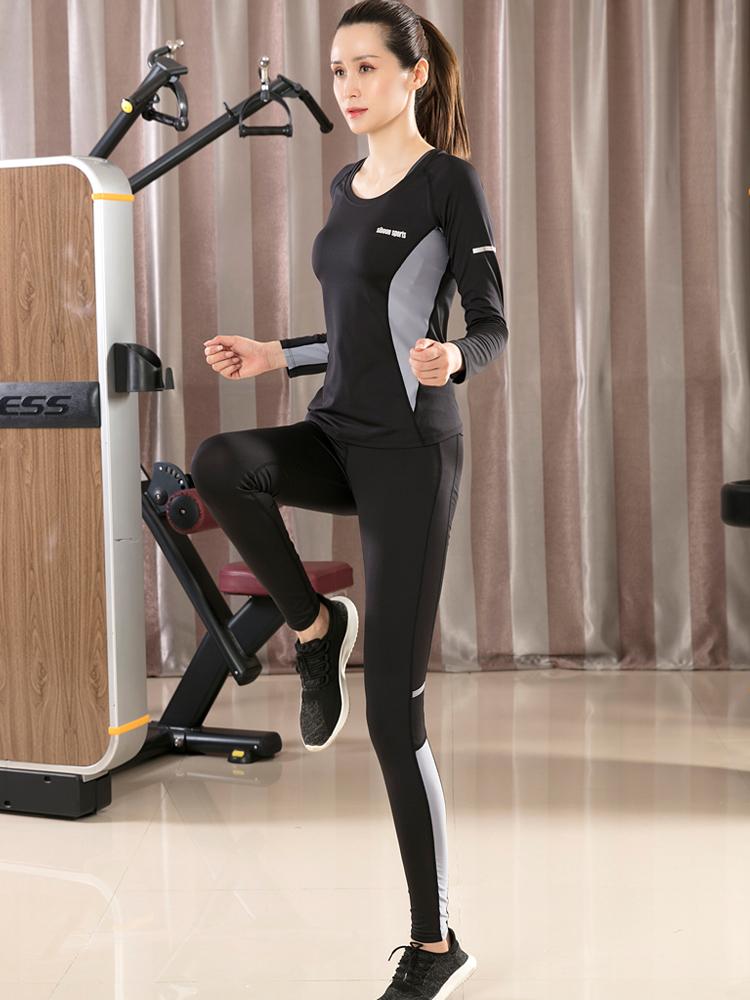 瑜伽服运动套装女2018新款长袖健身大码三件套运动七分裤跑步服
