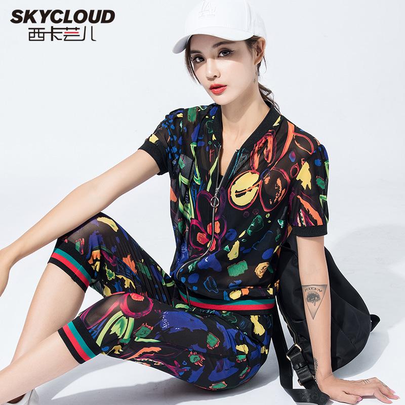 印花休闲运动服套装女夏季2019新款韩版雪纺透气开衫七分裤两件套