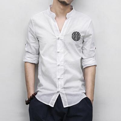 中国风棉麻复古中山装春秋衬衫青年中式服装唐装佛系男装古装修身