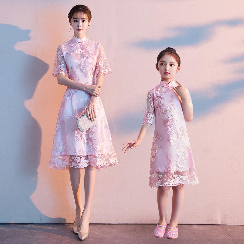 洋气改良母女裙秋季中国风新款时尚