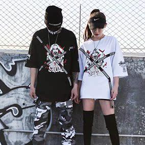 香港潮牌代购嘻哈短袖男宽松欧美街头国潮短袖T恤七分袖t恤男韩版