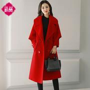 大红色毛呢外套女中长款韩版2018新款秋冬装宽松加厚时尚呢子大衣