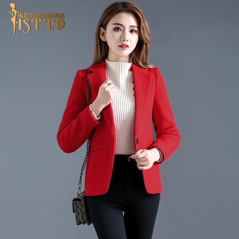 红色短款小西装2019春秋季新款韩版修身羊毛呢子大衣OL毛呢外套女