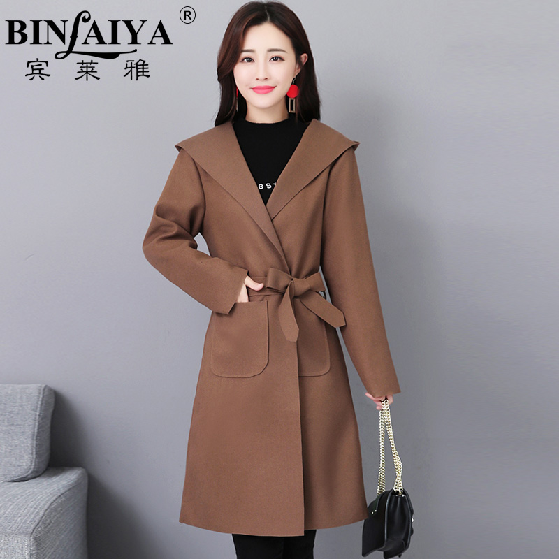 Windbreaker female spring and autumn 2018 new Korean version of the long section of thin ladies hooded jacket