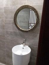 欧式新古典大圆镜新中式装饰镜书房壁挂镜子浴室镜复古卫生间镜子