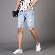 浅白色夏季牛子短裤男破洞五分裤潮 男士牛仔短裤薄款破洞5分裤男