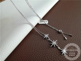 正品代购APM Monaco银流星星项链女士三星星项链锁骨链毛衣链吊坠