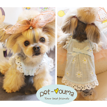 Flower Beauty Flying Sleeve Pet Dresses Dog Teddy Yorkshire Cat Mibby Bear Clothes Spring and Summer Dresses~