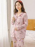 Spring and summer cotton gauze ladies long sleeves month clothes cotton pregnant women pajamas postpartum feeding clothes spring and autumn breastfeeding clothes
