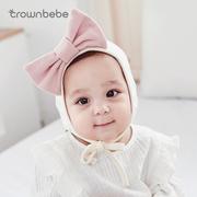 婴儿帽子春秋冬0-3-6-12个月女孩宝宝胎帽纯棉韩版公主女韩国盆帽