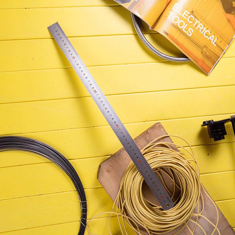 得力DL8050 钢直尺50cm钢尺 50厘米钢尺子绘图办公文具不锈钢直尺