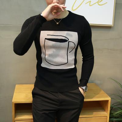 冬季青少年毛衣男士圆领小清新加绒韩版针织衫男装新款学生线衣潮