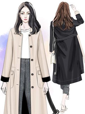 风衣女中长款韩版春季2018新款春秋宽松休闲秋季长袖女士双面外套