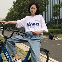 2018新款短袖T恤女学生宽松韩版ulzzang百搭半袖ins超火的上衣夏