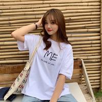 白色短袖T恤女韩范半袖女2019新款纯棉宽松字母T恤女ulzzang短袖