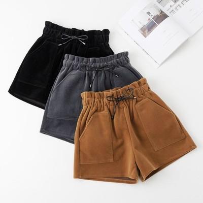 高腰毛呢短裤女秋季2018新款宽松大码韩版冬天外穿阔腿金丝绒靴裤