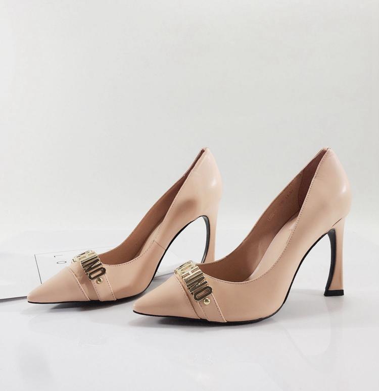牛皮尖头高跟单鞋裸粉色