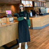 Crash color guard clothing women's long 2019 spring dress new Korean version of the loose round collar sleeve head over the knee-length Harbor taste guard tide