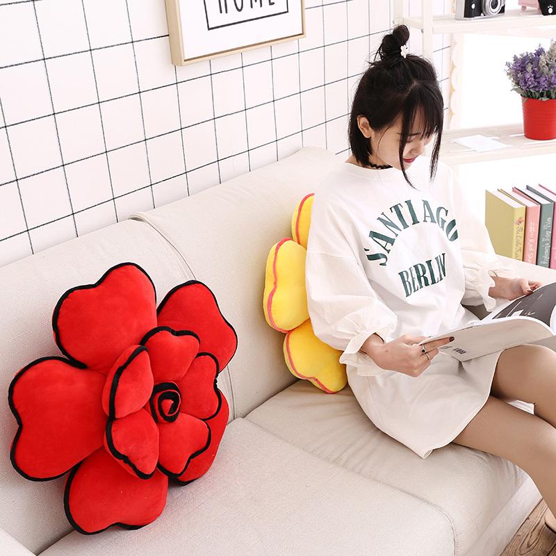 毛绒玫瑰花抱枕靠垫花朵可爱创意沙发办公室椅子靠背汽车腰靠护腰