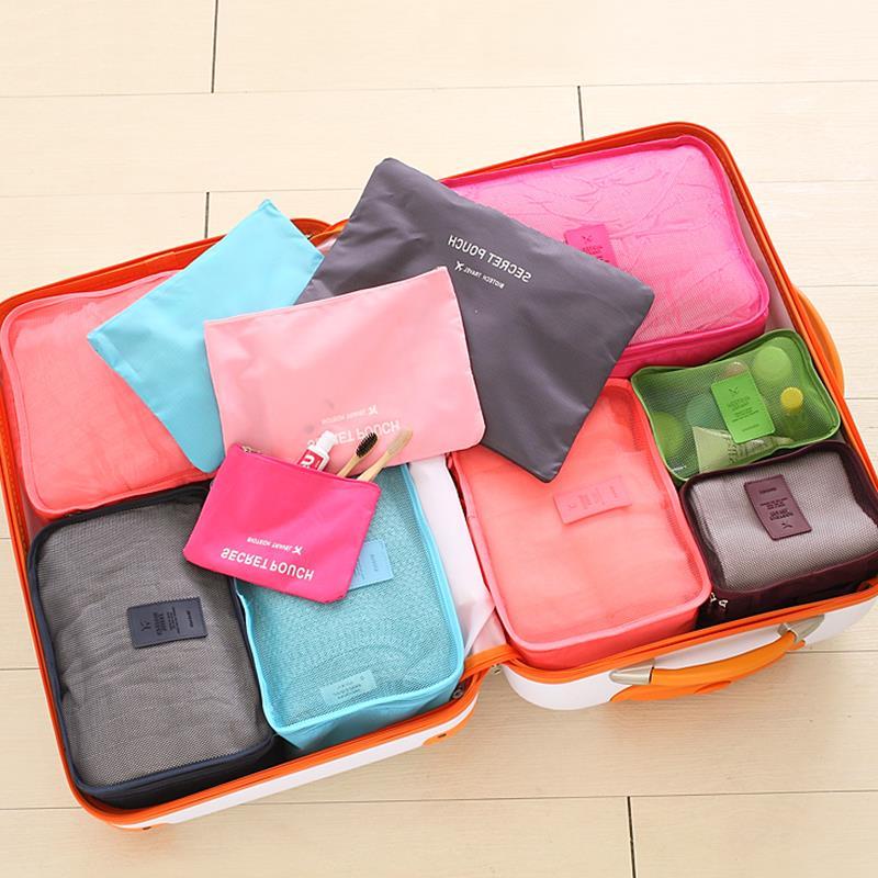 现货韩国旅行旅游收纳袋 防水衣服内衣整理包套装旅游行李箱6件套
