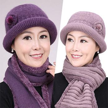 秋冬季中老年帽子女针织老人帽奶奶老太太毛线保暖中年妈妈帽围巾
